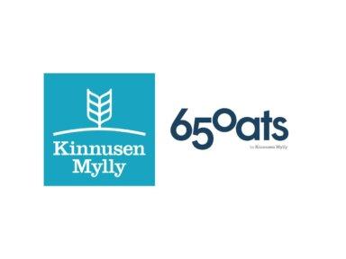 Two logos of Kinnusen mylly and 650 oats by Kinnusen mylly